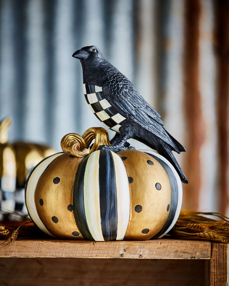 Courtly Check Crow on Pumpkin