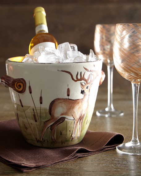 Wildlife Deer Deep Serving Bowl with Handles