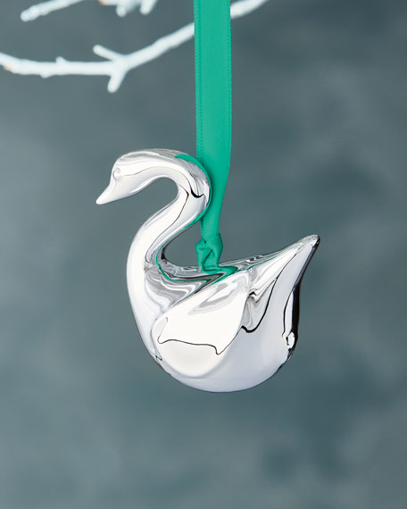 Metallic Swan Christmas Ornament