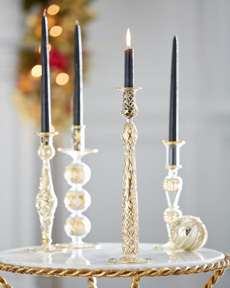 Gold & Glitter Collection Glass Candlestick, Medium