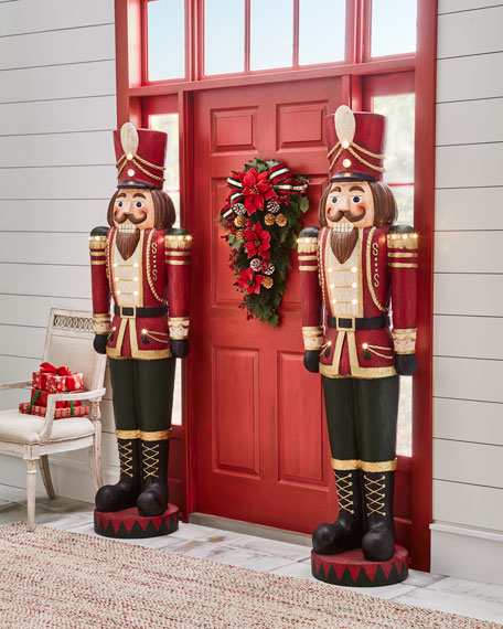 """Vintage-Charm Toy Soldier with LED lights, 6'3"""""""