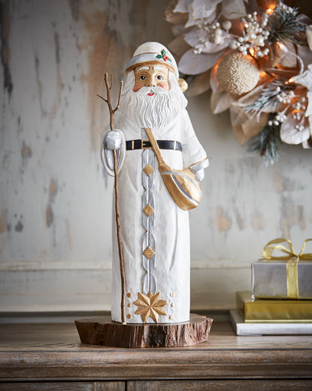 Hand-Carved Wooden Standing Santa