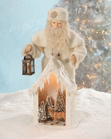 German Santa with Snow House