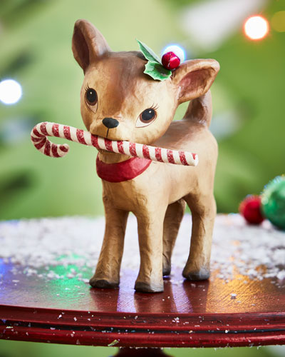 Little Retro Reindeer with Candy Cane