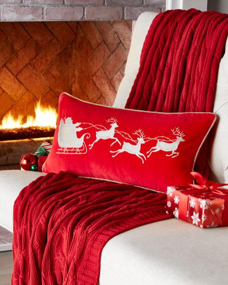 Red Velvet Pillow, Santa Sleigh