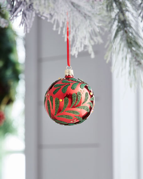 Red & Green Collection Shiny Red/Holly Ornament