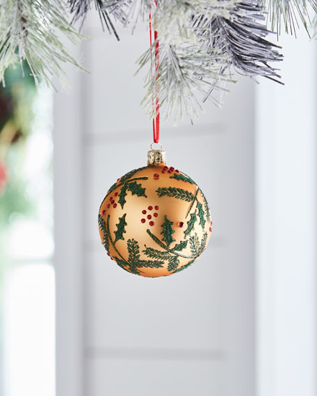 Red & Green Collection Matte Golden/Mistletoe Ornament