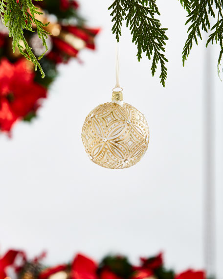 Gold & Glitter Collection Frosted/Diamond-Pattern Ornament