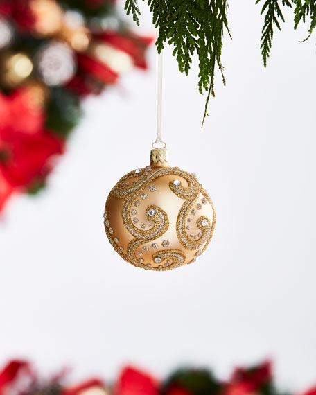 Gold & Glitter Collection Matte Golden/Swirls Ornament
