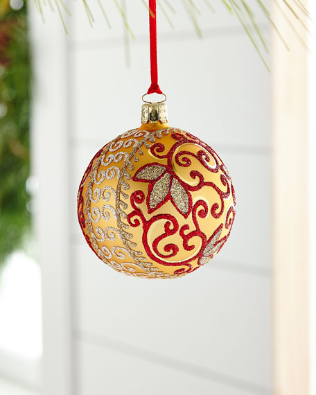 Gold & Glitter Collection Matte Golden/Red Vine Ornament
