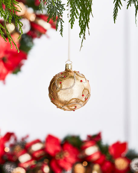 Gold & Glitter Collection Matte Golden/Swirls/Faux-Jewel Ornament