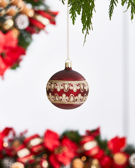 Gold & Glitter Collection Matte Red/Golden Lace Ornament