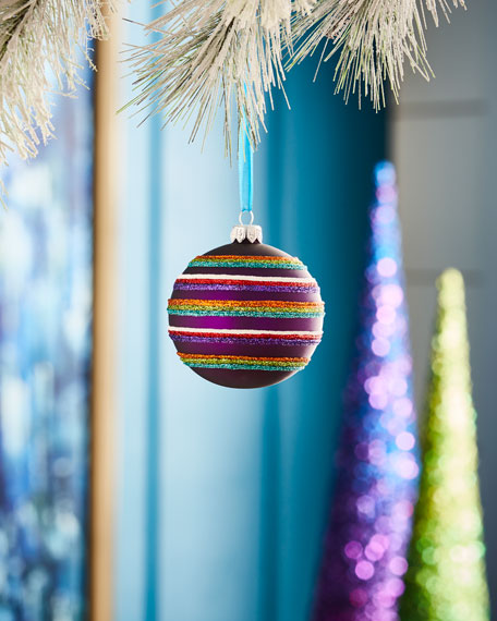 Playful Brights Collection Matte Purple/Stripes Ornament