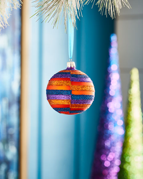 Playful Brights Collection Matte Orange Offset Stripes Ornament