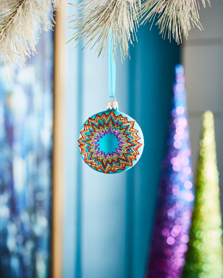 Playful Brights Collection Matte Turquoise/Starburst Ornament