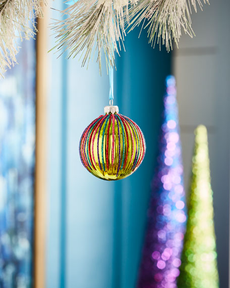 Playful Brights Collection Shiny Green/Stripe Ribbed Ornament