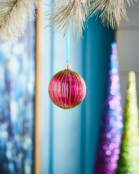 Playful Brights Collection Purple/Red Stripe Ribbed Ornament