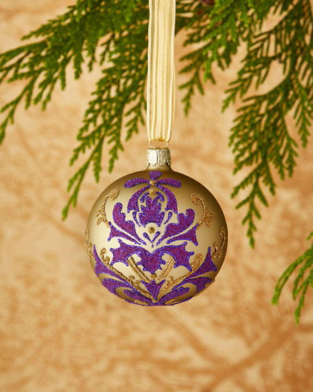 christborn wegner goldpurple flowers christmas ornament