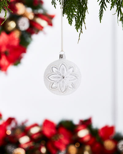White & Silver Collection Clear/Snow Flowers Ornament