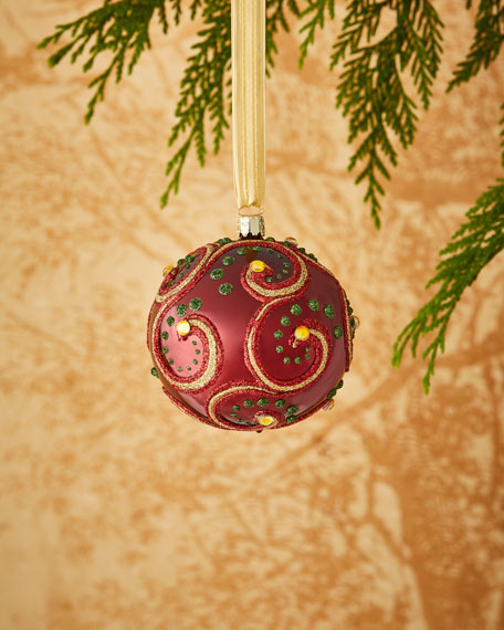 Shiny Burgundy/Swirl Ornament