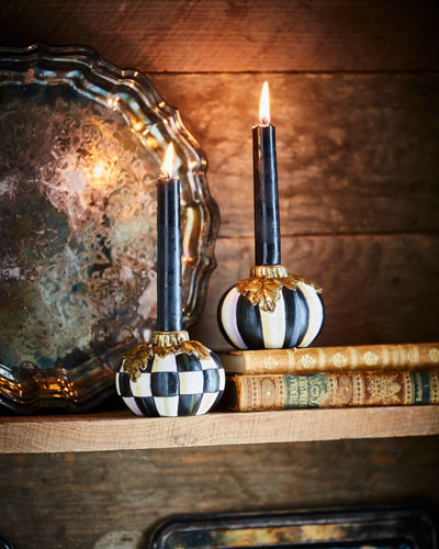Courtly Stripe Pumpkin Candlesticks, Set of 2