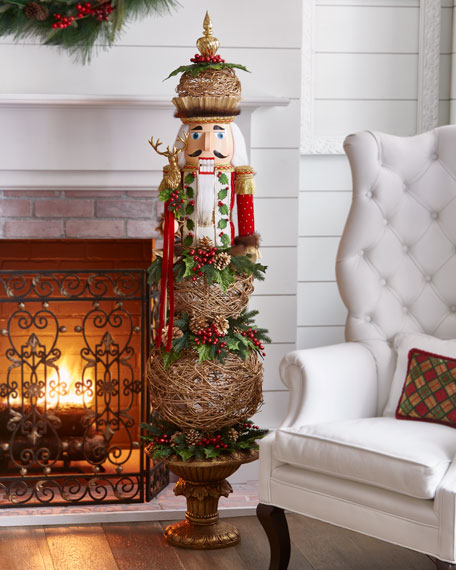 """Red & Green Collection Nutcracker Topiary, 64"""""""