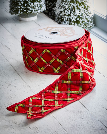 Red & Green Collection Red Velvet/Plaid Wired Trellis,