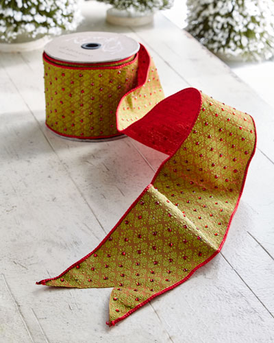 Red & Green Collection Brocade Wired Ribbon, 10 Yards