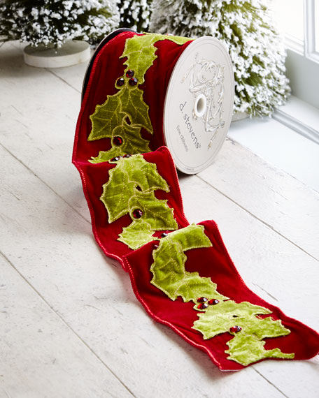 Red & Green Collection Red Velvet/Holly Wired Ribbon,