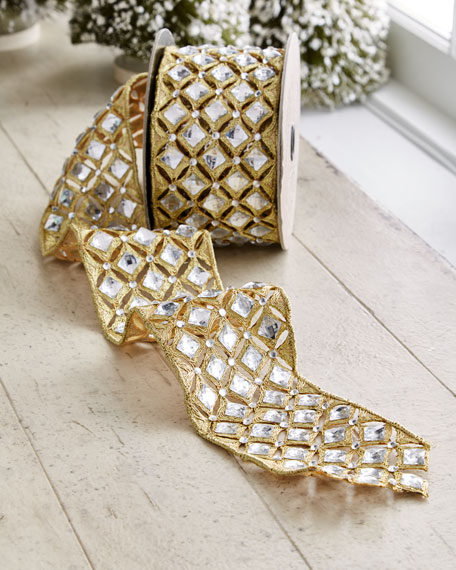 Gold & Glitter Collection Golden Trim/Faux-Diamond Wired Ribbon,