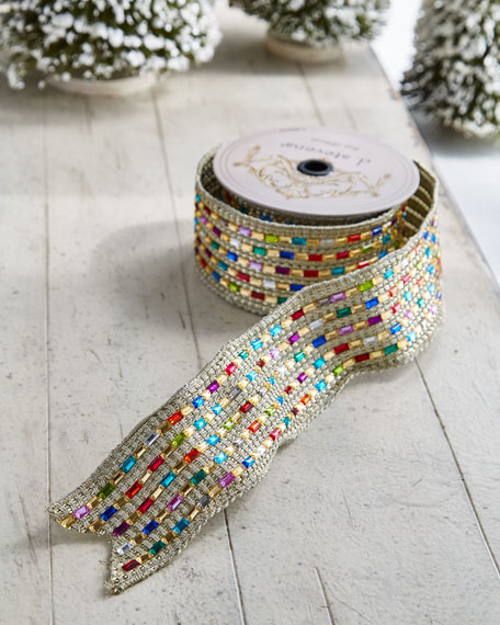 Playful Brights Collection Golden/Faux-Jewel Ribbon, 5 Yards