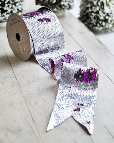 Playful Brights Collection Silvery Sequin/Hot Pink Ribbon, 10