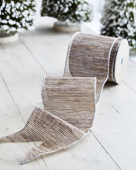 White & Silver Collection Silvery/Natural Mesh Wired Ribbon, 10 Yards