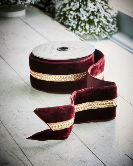 Burgundy Velvet/Laurel Wired Ribbon, 5 Yards