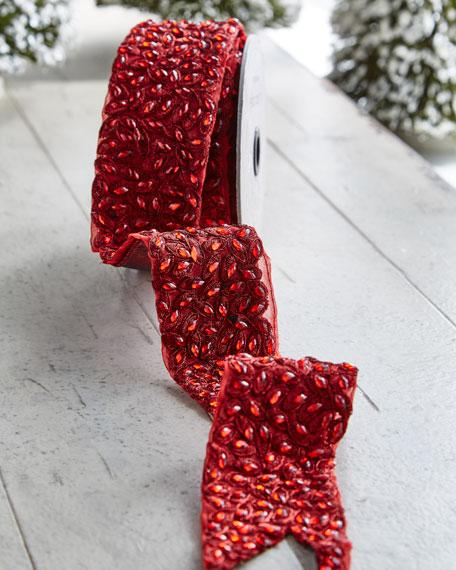 Metallic Doupioni/Faux-Jewel Wired Ribbon, 5 Yards