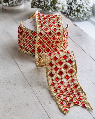 Golden-Trim/Faux-Jewel Wired Ribbon, 5 Yards