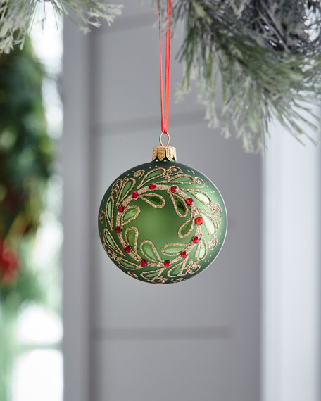 Red & Green Collection Matte Green & Golden Wreath Ornament