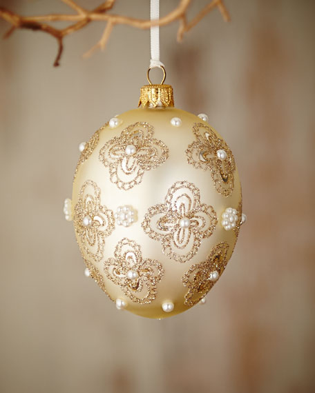 Gold & Glitter Collection Ivory Egg with Glitter