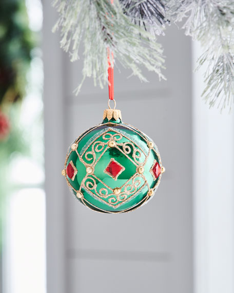 Red & Green Collection Shiny Green & Red-Stone Ornament