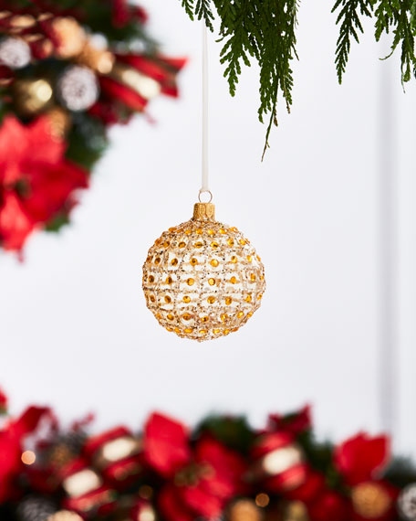Gold & Glitter Collection Matte White Glitter & Bead Ornament