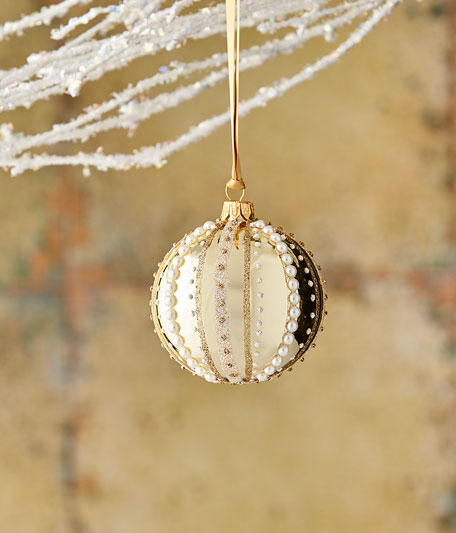 "Gold & Glitter Collection Shiny Golden ""Pearl"" Stripe Ornament"