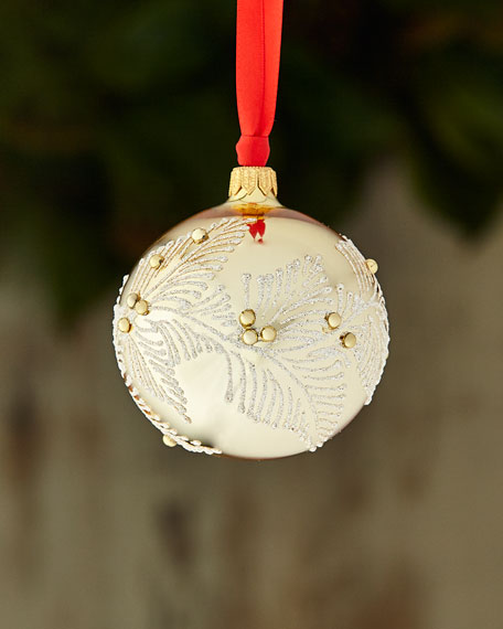 Gold & Glitter Collection Shiny White Golden with Silvertone Leaves Ornament