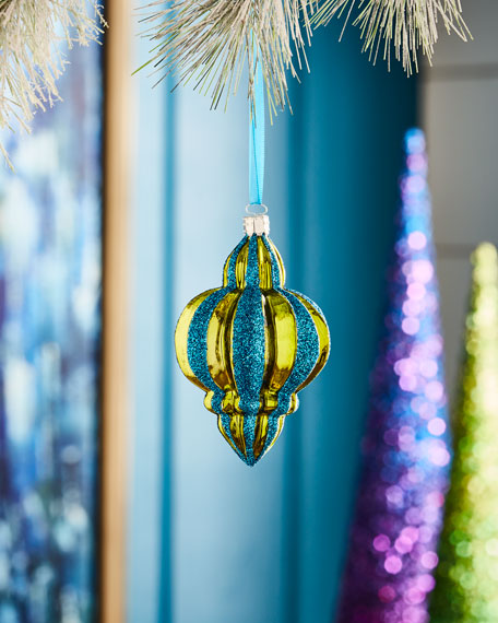 Playful Brights Collection Green/Blue Ribbed Finial Ornament