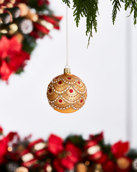 Gold & Glitter Collection Shiny Golden Glitter Scallop Ornament