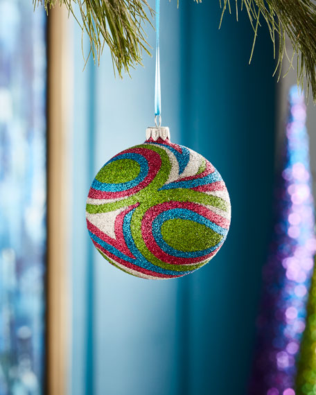 Playful Brights Collection Glittered Swirl Ornament