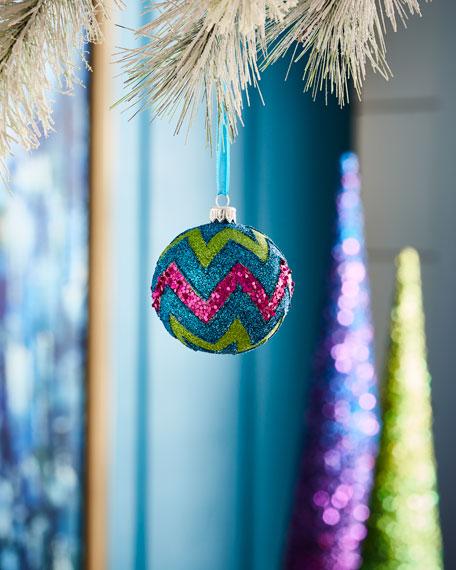 Playful Brights Collection Multi-Glitter Chevron Ornament