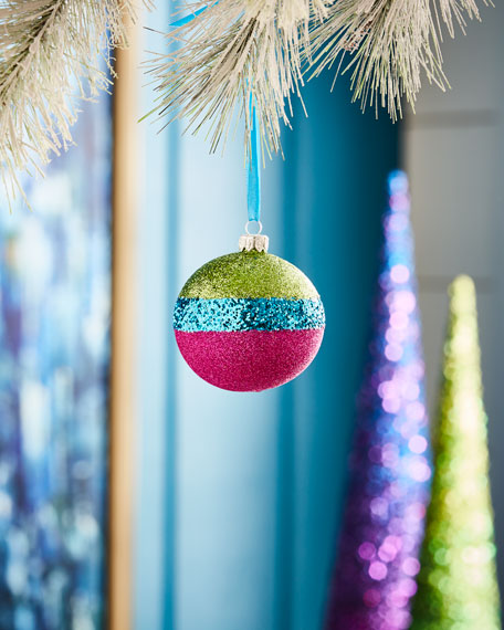 Playful Brights Collection Multi-Glitter Striped Ornament
