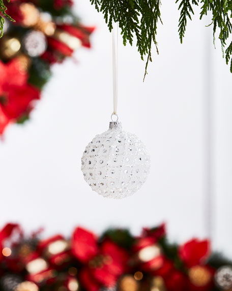 White & Silver Collection Matte White/Crisscross Ornament