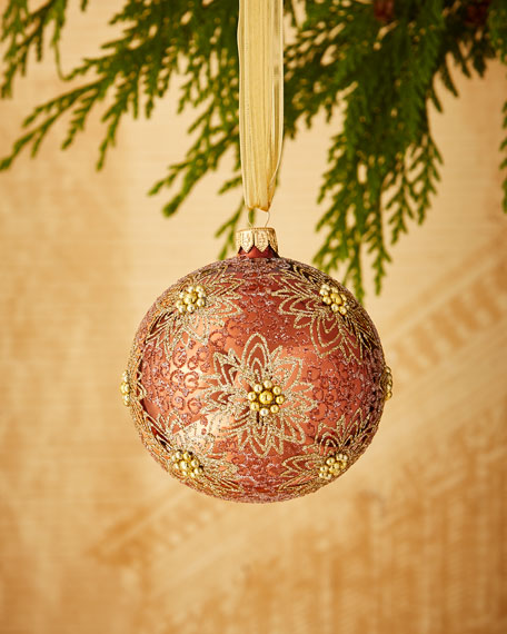 Coppery/Glitter-Flower Ornament