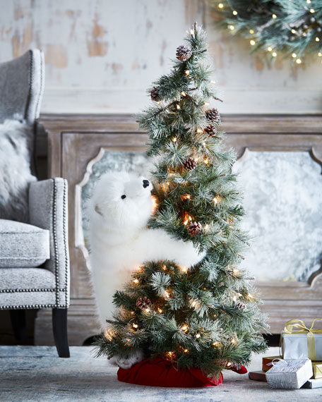 White Bear on Lighted Frosted Christmas Tree, 4'